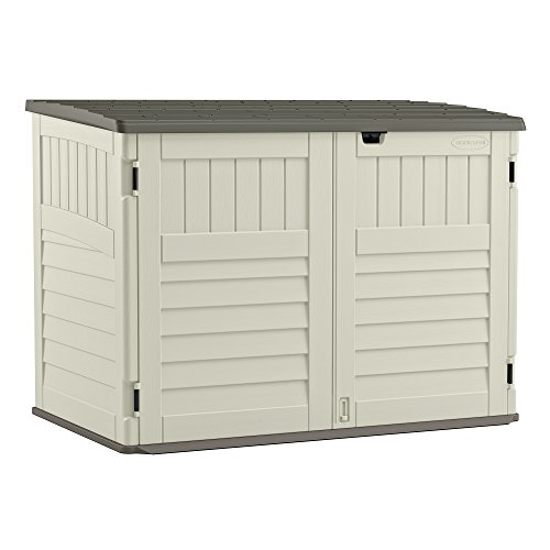 - Suncast Stow - Away Horizontal Storage Shed - Outdoor Storage Shed for Backyards and Patios - 70 Cubic Feet Capacity for Garbage Cans, Tools and Garden Accessories - Vanilla and Stoney