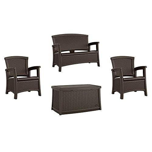 Suncast Elements Wicker Design Loveseat + Resin Club Chairs + Coffee Table, Java (Suncast Wicker Elements Storage Bench)