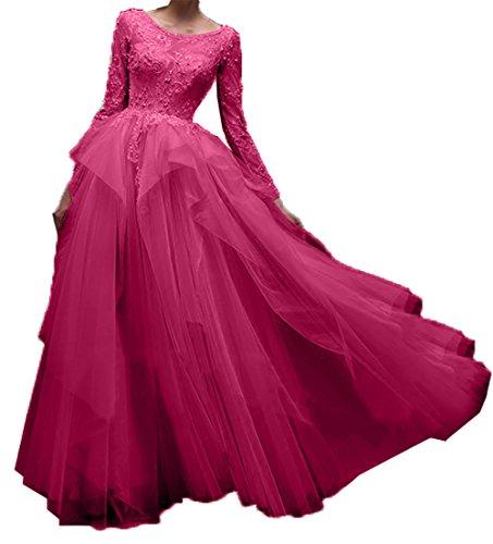 Promkleider Damen Abendkleider Spitze Hundkragen Linie Ballkleider Langarm Pink Charmant A Festlichkleider Partykleider Ha4pnWq