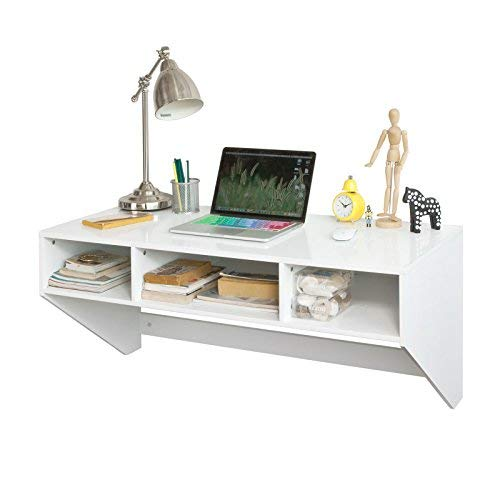 SoBuy® Color Blanco Montado en Pared Mesa Escritorio con 3 cajones ...