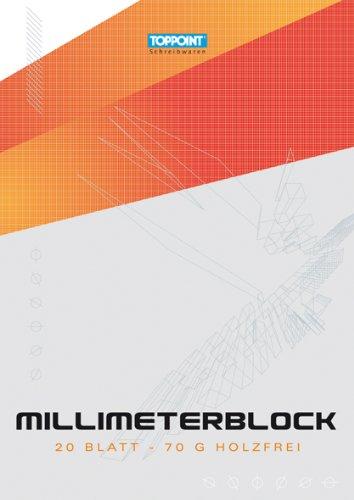 100 fogli (5 X 20 fogli) Carta MILLIMETRATA DIN A4