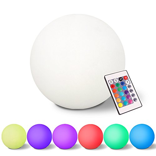 7Pandas 8-inch LED Mini Glowing Ball Light W/ Remote Control, 16 RGB Colors Changing, 4 Lighting Modes, Rechargeable Night Lights, Cordless Orb Indoor lighting for Bedroom Decoration
