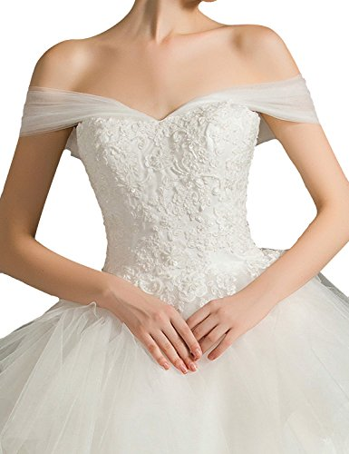 Fanciest Ruffles Damen Ball Brautkleider White Spitzen Kleider Off Organza White Shoulder rqrtdgxT