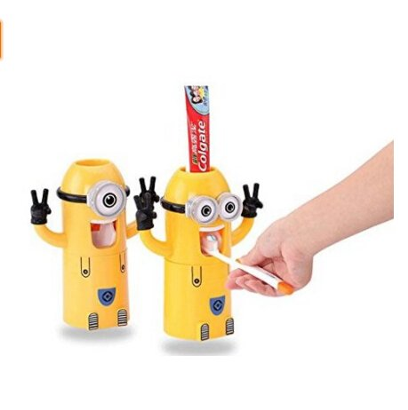 Cute Two Eyes Despicable Me Minions Design Combo Set Toothbrush Holder Automatic Toothpaste Dispenser with Rinse Cup (Yellow) (Minion Double Eye)