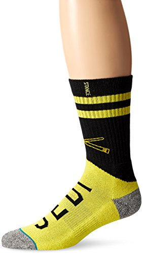Star Wars Men's Varsity Jedi Classic Crew Sock, Yellow, Large (Black And Yellow Striped Nylon Stockings)