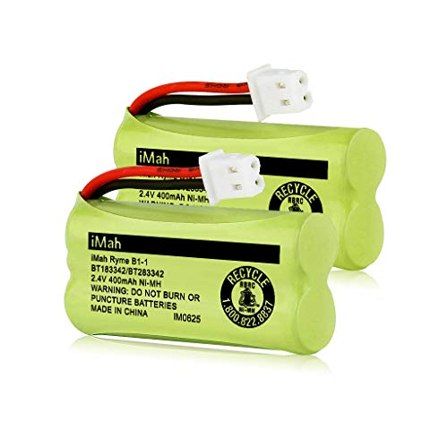 iMah BT183342/BT283342 2.4V 400mAh Ni-MH Battery Pack, Also Compatible with AT&T VTech Cordless Phone Batteries BT166342/BT266342 BT162342/BT262342 CS6709 CS6609 CS6509 CS6409 EL52100 EL50003, 2-Pack (Vtech Phone Battery Cordless)