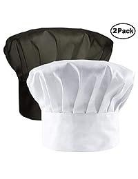 IHUIXINHE Chef Hat Adult Adjustable Elastic Baker Kitchen Cooking Chef Cap, White, Black