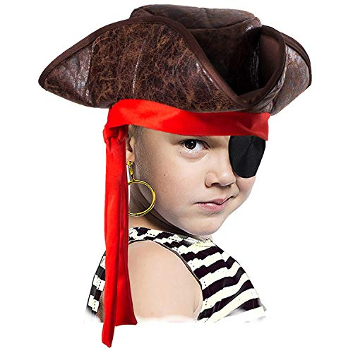 Tigerdoe Pirate Hat for Kids - 3 Pc Set - Pirate Hat and Eye Patch - Pirate Accessories - Pirate Costumes Brown