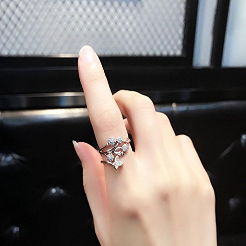 - Sinwo Women Fashion Beautiful Fashion Women butterfly flower Engagement Ring for Gift (Silver)