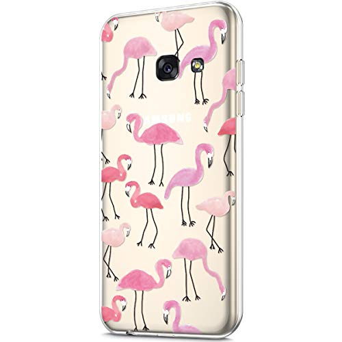 Price comparison product image ikasus Case for Galaxy A7 2017, Clear Art Panited Pattern Design Soft & Flexible TPU Ultra-Thin Transparent Flexible Soft Rubber Gel TPU Protective Case Cover for Galaxy A7 2017 Case, Pink Flamingo
