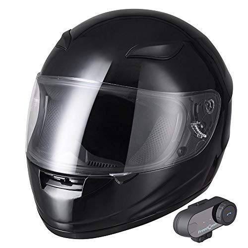(AHR Bluetooth Motorcycle Full Face Helmet Motorbike Modular Helmet with Wireless Headset Intercom MP3 FM DOT)