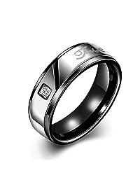 Men's 18K Rose Gold Titanium Stainless Steel Love Printed Plain Band Zircon Eternity Wedding Promise Engagement Ring