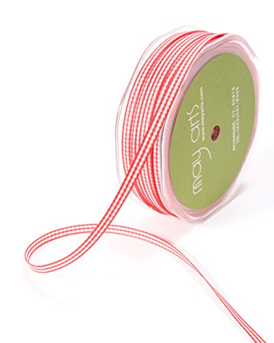 May Arts KB-9-14 Red 3/16 Solid Checkered Solid Ribbon,Red,100 yd by May Arts