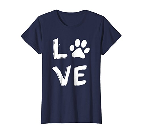 Womens Love Dog Paw Print Animal Paw Dog Lover Dog Owner T Shirt Small Navy ()