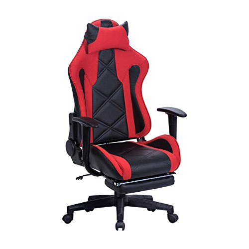 Sunmae High Back Ergonomic Leather Gaming Chair, Racing Chair, Adjustable Computer Desk Swivel Chair with Footrest - Red