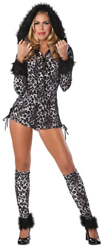 [Delicious Snow Leopard Costume, Black/White, Medium] (Sexy Leopard Costumes)