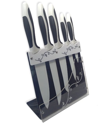 Royal Ceramic Knives Set Non-Stick Coating Elegant Knife Block 5pcs - Extra Sharp!