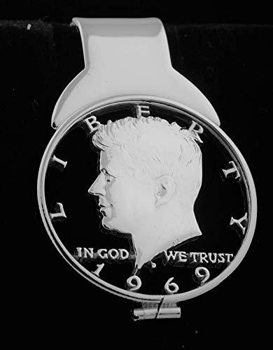 1969 50th Anniversary Birth Year Money Clip Kennedy JFK USA Silver Half Dollar Cut Coin Jewelry