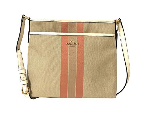 - Coach File Crossbody In Signature Jacquard With Varsity Stripe Light Khaki/Coral