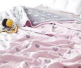 Scientific Sleep Loves Pink Cute Cozy Lightweight Muslin Cotton Blanket Twin, Throw Blanket