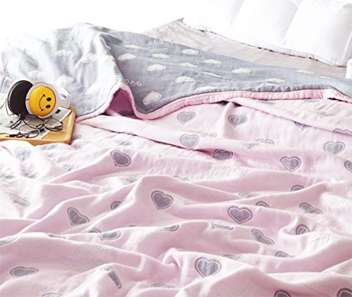 """Scientific Sleep Love Pink Cute Cozy Lightweight Muslin Cotton Blanket Ful/Queen, Throw Blanket for Bed, Couch & Sofa, Summer Bedding Coverlet (F/Q 78"""" X 90"""", love2)"""