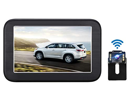 Emmako Wireless Backup Camera and 5'' Monitor System For Cars IP68 Waterproof 6 LED Light Night Vision HD Color Rear View Camera With Guide Lines On/Off