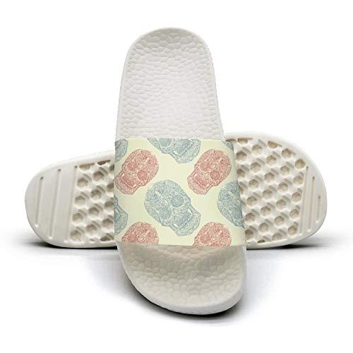 (Pink skull halloween day of the dead makeup Women's Soft Anti-slip Comfortable slippers Indoor Bath flip flops for)
