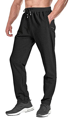 FASKUNOIE Men's Joggers Sports Sweatpants Workout Traning Pants with Zipper Pockets Black