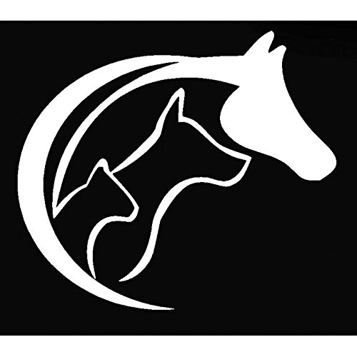 """Animal Lovers 5"""" Decal Horse Dog Cat Sticker for Laptop Car Window Tablet Skateboard - White for sale"""