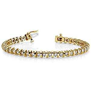 14K Yellow Gold Diamond Round Brilliant Prong Set Tennis Bracelet (4.0ctw.) - Size 8.5
