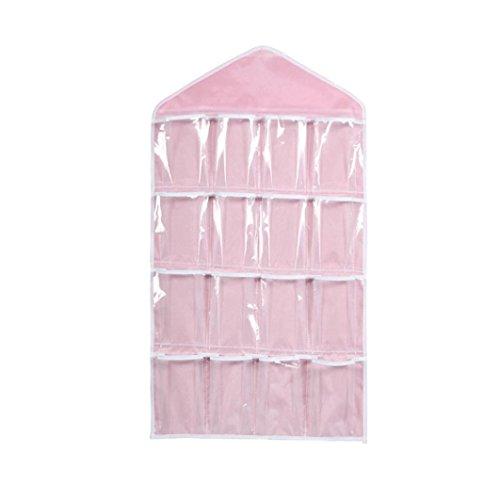 Price comparison product image Clearance Deal! Hot Sale! Storage Bag, Fitfulvan Pockets Clear Hanging Bag Socks Bra Underwear Rack Hanger Storage Organizer (Pink)