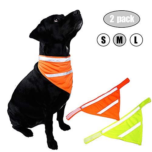 Kalining 2 Pack REFLECTIVE DOG BANDANA Large/medium/small with Personalized Neon Color,Safety Dog Bandana Orange Dog Scarf High Visibility Bib Dog Walking at Night(M)