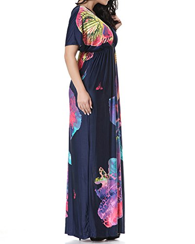 Alta Lunga Vestiti Grossa Abiti Vestito Elegante Blu Di Zhuikun Donna Sera Stampato Zaffiro A Vita Taglia nqIOIB0w7F