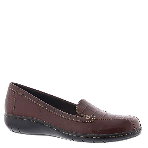 CLARKS Women's Bayou Q Loafer, Brown Leather