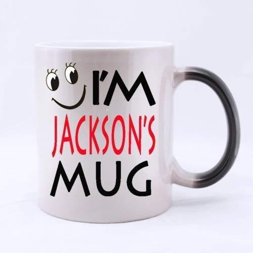 Lneng Anthropomorphic Cup Funny Cute 'I'm Jackson's Mug' (Twin Side) Magic Surprise Mug Changing Black and White Morphing Mug (11 Oz)
