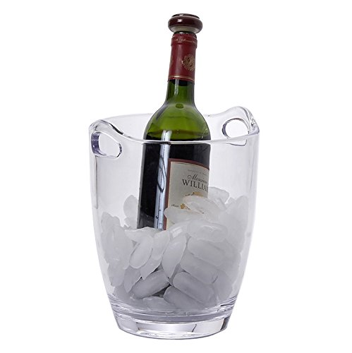 Clear Thick Acrylic Plastic Ice Bucket Wine Champagne Bowl with Handle