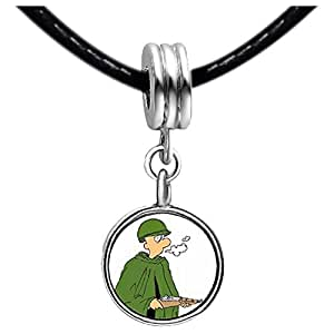 Chicforest Silver Plated American military soldier gun cartoon Photo Peridot Crystal August Birthstone Flower dangle Charm Beads Fits Pandora Charm