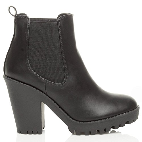 size high booties ladies boots ankle platform shoes Ajvani riding cleated Matt chelsea Womens heel Black block qS1EOP