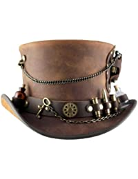 """Timeport"" Leather Steampunk Top Hat"