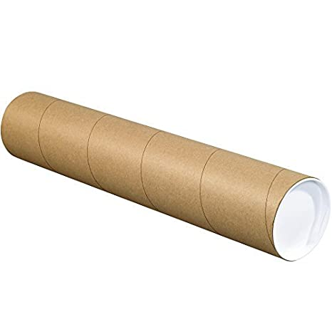 Pack of 50 Tape Logic TLP2060K Mailing Tubes with Caps 2 x 60 Kraft