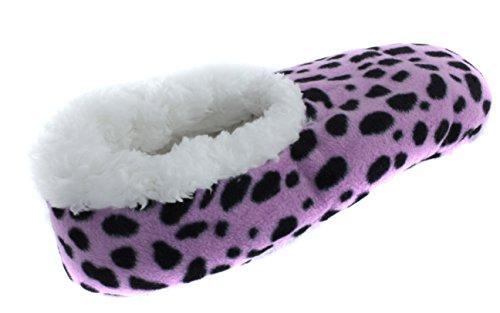 Trufit Kvinnor Djurtryck Sherpa Fleece Fodrade Tossor Lila Cheetah