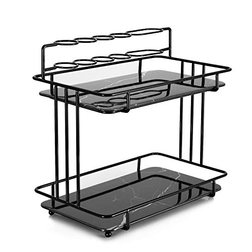YURONG 2-Tier Bathroom Countertop Organizer, Standing Shelf Vanity Tray Cosmetic Makeup Storage,Wrought Iron Toothbrush…