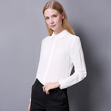 Mayihang Blusa Camisa Camiseta Manga Larga Chaqueta de Seda de Primavera de Solapa de Seda verdadera Mujer,Blanca,XXL: Amazon.es: Deportes y aire libre