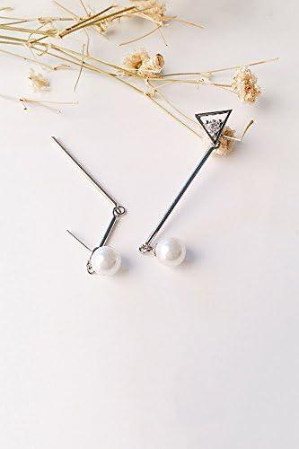 KENHOI Belleza creativa fruta/camisa vestido estilo perla larga asimétrica triángulo circonita S925 plata pendientes de tuerca pendientes colgantes de lágrima: Amazon.es: Hogar