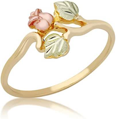 Rose Ring, 10k Yellow Gold, 12k Green and Rose Gold Black Hills Gold Motif