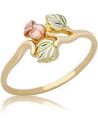 Rose Ring, 10k Yellow Gold, 12k Green and Rose Gold Black Hills Gold Motif