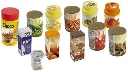 color//modelo surtido Miniland Set de 12 latas de comida para jugar colores reales 30596