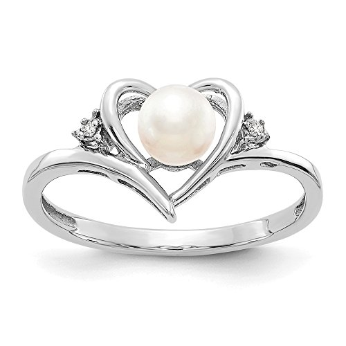 14k White Gold Freshwater Cultured Pearl Diamond Band Ring Size 7.00 Set Birthstone June Fine Jewelry Gifts For Women For Her