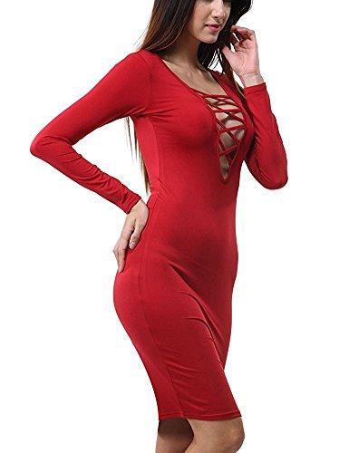 ALAIX El Vendaje Atractivo de Las Mujeres de Manga Larga del Partido de Bodycon Estiramiento para Mujer Falda Rojo