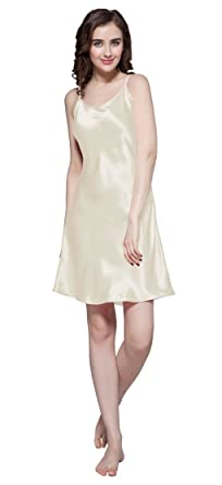 2dc990a511 LilySilk Women s Mulberry Silk Nightgown Short Chemise 100% Pure 22 Momme  Silk Beige Size 0